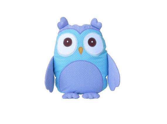 Decorative owl, monogram pillow, turquoise owl shaped pillowcase and pillow