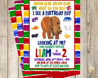 Brown Bear Brown Bear Birthday Party Invitation