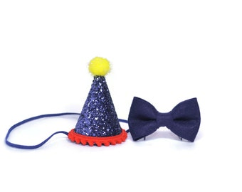 1st Birthday Boy Felt Birthday Hat and Bow Tie set ||  First Birthday Party Hat || First Birthday Hat || Smash Cake Hat Pet Birthday