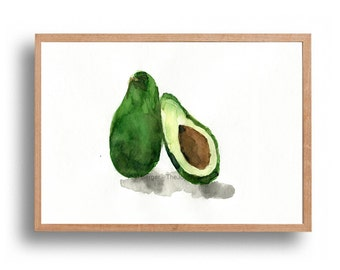 Avocado Study  No.2, art print of my original watercolor painting, botanical ,limited edition, still life,  kitchen art