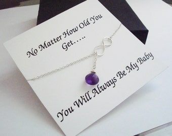 Infinity & Amethyst Briolette Silver Lariat Necklace ~Personalized Jewelry Gift Card for Daughter, Step Daughter, Bridal Party, Graduation
