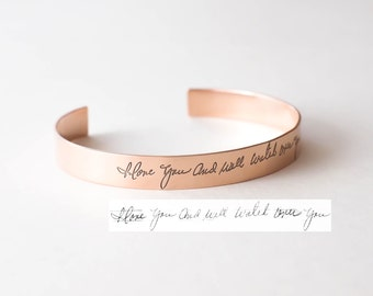 Custom Handwriting Jewelry • Your Actual Handwriting Cuff Bracelet • Handwriting Bangle • Signature Bangle • Sympathy Gift • Mom Gift • BM26