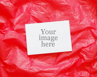 Red styled stock image - Valentine themed product photography - a6 and a5 greetings cards horizontal product image - red background