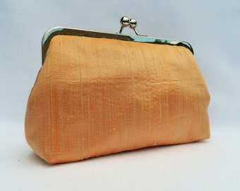 Silk Clutch, Bridal Clutch, Bridesmaid Clutch, Peach Clutch Purse, Evening Clutch, Wedding Clutch, Peach and Black Silk Clutch