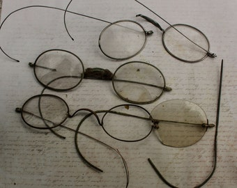 6 pair Vintage Wire Rim Eyeglasses Spectacles Steampunk style from California