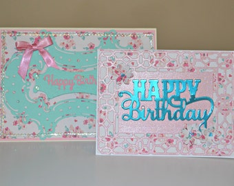 Vintage Style Greeting Cards / Set of 2 Handmade Birthday Cards / AG Greeting Cards / Anna Griffin Cards