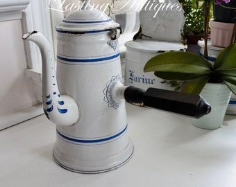 French Enamelware Chocolate Pot with Wooden side Handle, Coffee Pot, c. 1890's, BB Austria, 1.5 ltr, Gift for Her, Hand-painted