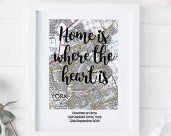 Map print, Map Housewarming Gift, Map Moving Gift, Personalised Moving Print, Personalised New Home Print