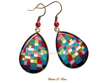 Earrings drops checkered multicolored bronze for Paul Klee glass