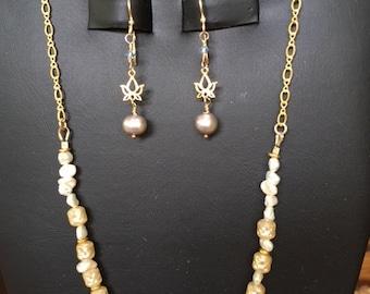 Pearl, Lotus and Saworski crystal earrings. Gold Fill.
