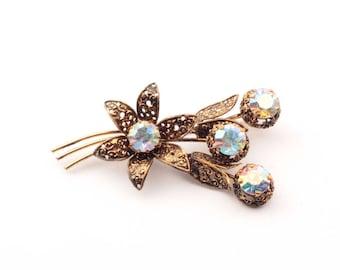 Vintage Czech Bohemian AB crystal glass rhinestone flower bouquet pin brooch 901-38