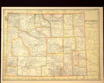 Wyoming Map Wyoming Antique Original 1920s Colorful 1921