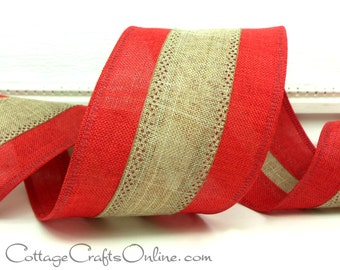 "Wired Ribbon, 2 1/2"" Red and Tan Stripe, Linen Look - THREE YARDS -  ""Linen Stripe"" Christmas, Valentine, Patriotic Wire Edged Ribbon"
