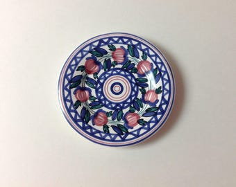 Vintage Italian Pottery Miniature Decorative Plate, Ring, Trinket Dish, Hand Painted, Pink, Blue, Green, Majolica Mini Hanging Plate