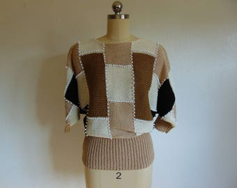 80s color block pullover sweater with dolman sleeves size medium