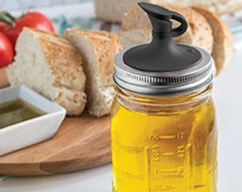 Oil Cruet / Oil Dispenser Lid for Regular Mouth Mason Jars