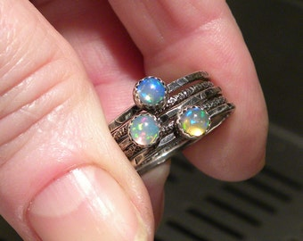 Opal Stacking Rings, Set of Silver Rings in Organic Texture, Sterling Silver Birthstone Rings, Set of Five R168