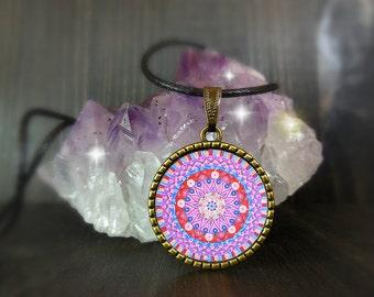 Mandala collana viola da donna e uomo, unisex, gioielli con significato, energia di guarigione, idea regalo porta fortuna per zia, cugina.