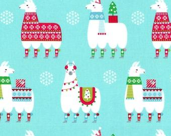 Aqua Llama Navidad, #CX7383-AQUA From Michael Miller  100% Cotton, 44/45in, 1-yard cut