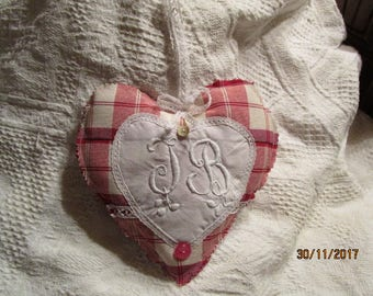HEART door pillow, shabby chic, has hang IB Monogram