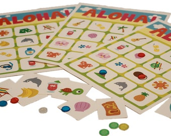 Hawaiian Luau Birthday Party Bingo Game