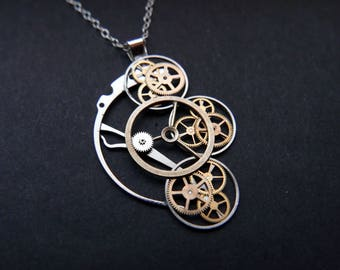 "Watch Parts Necklace ""Dunyach"" Cascading Recycled Mechanical Clockwork Pendant Elegant Sci Fi Steampunk Mechanical Mind Easter Gift"