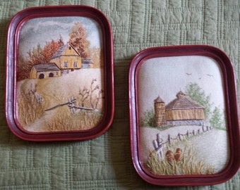 Vintage Barns - Embroidery on Watercolor