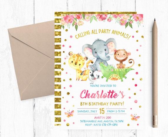Zoo party invitations zoo birthday party invitation zoo stopboris Image collections
