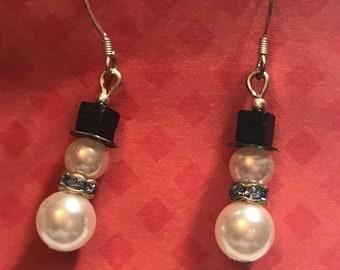 Sterling Silver Snowman Bead Dangle Earrings