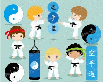 Karate Clipart - Karate Kids Clipart/ Karate boy clip art / Sport kid clip art/ (CG142)/ INSTANT DOWNLOAD