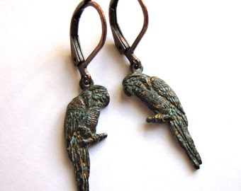 Verdigris Patina Bird Earrings Boho Fashion Jewelry