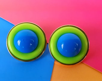 Button Earrings 80s Vintage Fashion Bright Green Blue Large Geometric