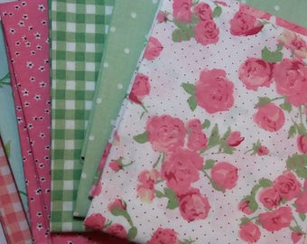 Picnic Time Fat Quarters. 6 design Bundle 100% Cotton. 45cm x 55cm. Floral fabric, quilting fabric, flower fabric, polka dot, craft supply
