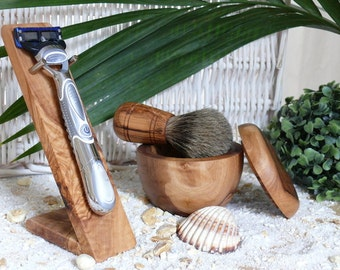 Shaving brush, shaving bowl and holder for razor made of olive wood