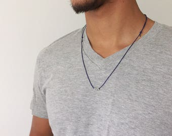 Surf Necklace Surf Style Mens Surfer Necklace Surfer Girl Jewelry Silver Surfer Choker Wax Cord Necklace Gift men Gift for him Mens Choker