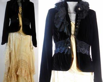 Vintage inspired Bohemian gypsy Steampunk Edwardian Victorian black velvet altered upcycled jacket coat long sleeve hand beading size med