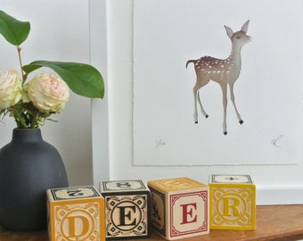 Baby deer fawn papercut art // woodland nursery - woodland animals - wall decor - deer picture - fawn picture - Bambi - mixed media