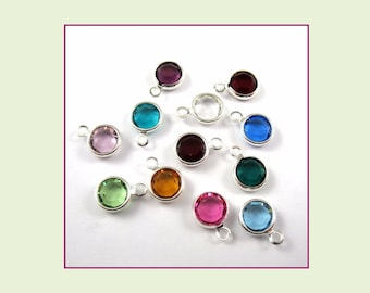 6mm Swarovski Birthstone Channel Charms - Lot of 12 Assorted (1 Each Month)
