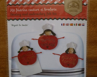 """Felt sewing and embroidery """"Magnets tomatoes"""" Kit"""