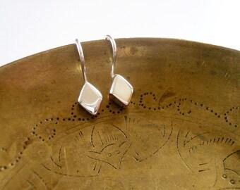 Diamond Earrings. Sterling Silver Diamond Earrings. Sterling Silver Drop Earrings. Tiny Silver Earrings. Silver Earrings. Silver Diamonds.