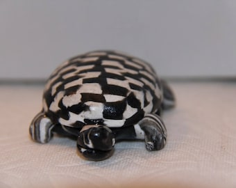 Handcrafted Checkered Turtle, 100% Handmade