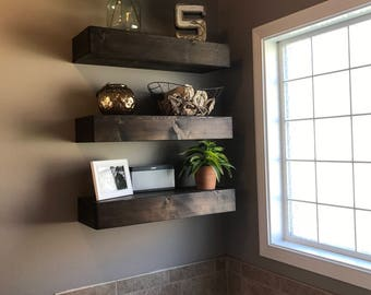 wood floating shelf, floating shelves, rustic shelf, bathroom shelf, wall shelves, wooden shelves, farmhouse decor, wall shelf