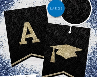 Large Black & Gold Glitter 2018 Printable Banner  |  All Letters 0-9 numbers  |  Graduation, Birthday, Congratulations, Anniversary