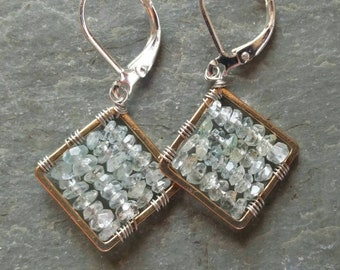 Aquamarine mixed metals earrings