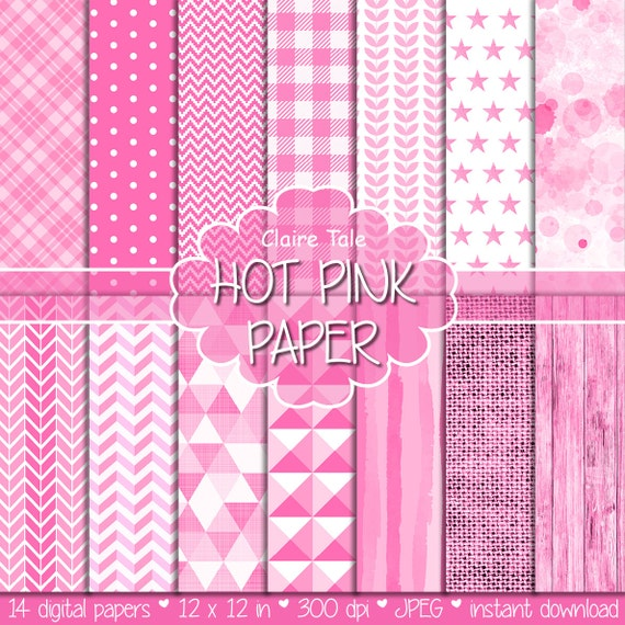 Hot pink digital paper, Hot pink printable background, Hot pink printable invitation paper, Hot pink patterned background, Hot pink wood