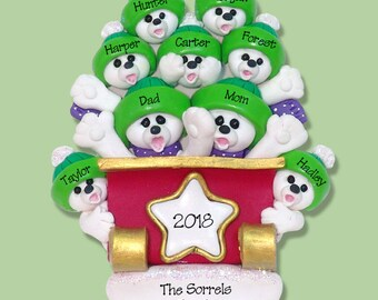 Polar Bear Family of 9 in Sleigh HANDMADE Polymer Clay Ornament - Personalized Christmas Ornament - Limited Edition