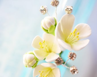 Made to Order - White Cherry Blossom Hair Pin with Handwired Rhinestones with Silver Settings