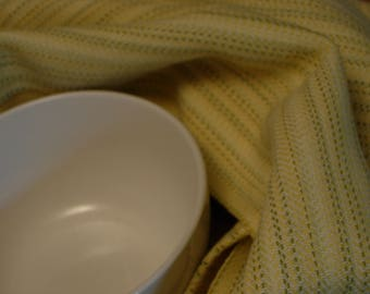 Handwoven Cotton Towel yellow w flecks of green and white twill extra large towel