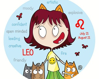 LEO  - ZODIAC - star sign - Limited Edition print 7 x 9 inch - Cats with attitude - PookieCat