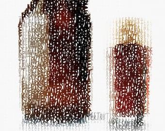 "Craft Beer Typography - Word Art - 12"" x 18"" Digital Print"